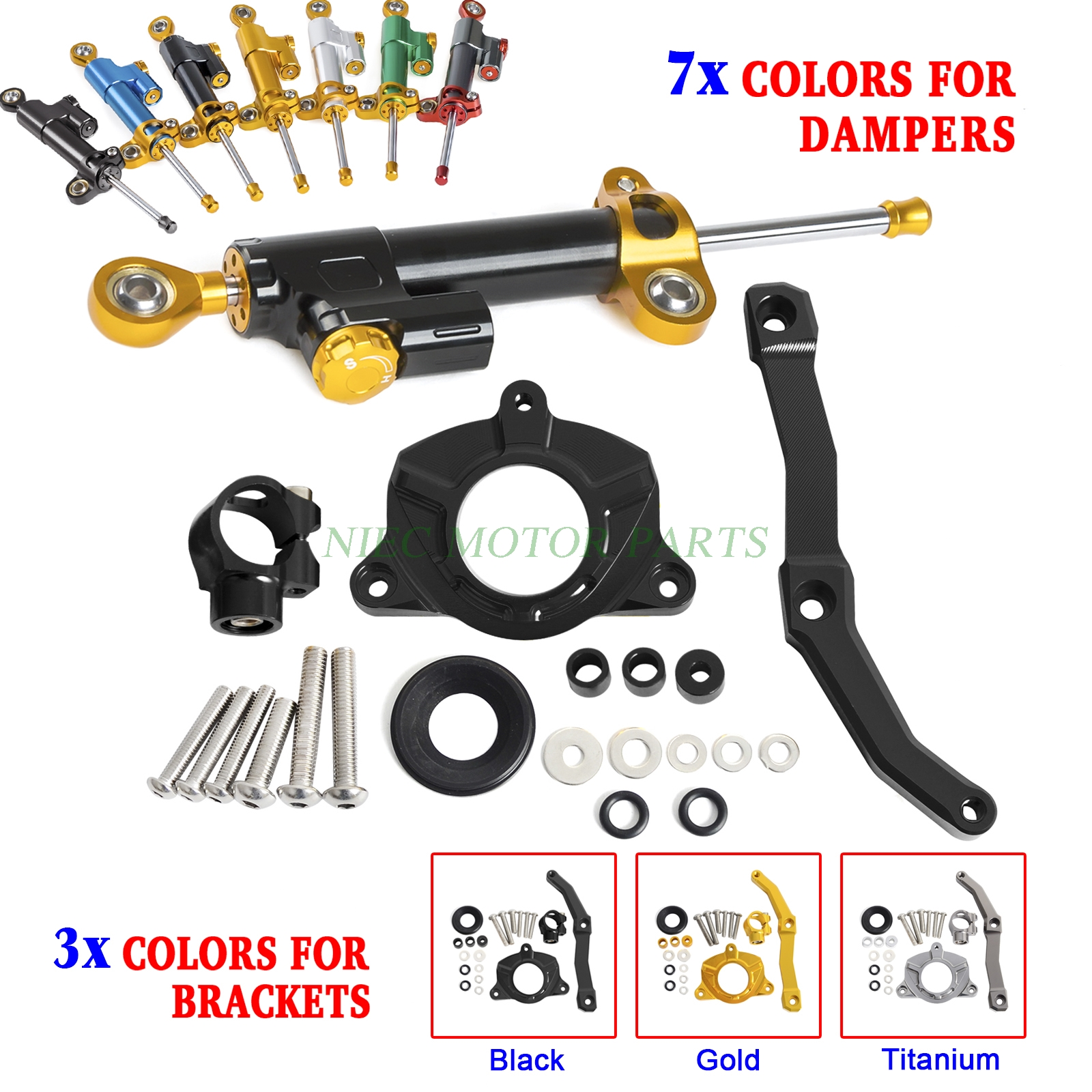 Motorcycle CNC Steering Damper Stabilizer & Bracket For Kawasaki Z1000 2010 2011 2012 2013