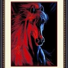 """Рукоделие """"сделай сам"""": вышивка крестом, комплект с вышивкой, огонь и лед с принтом животного, лошади крест накрест-вышивка для декора домашних стен"""