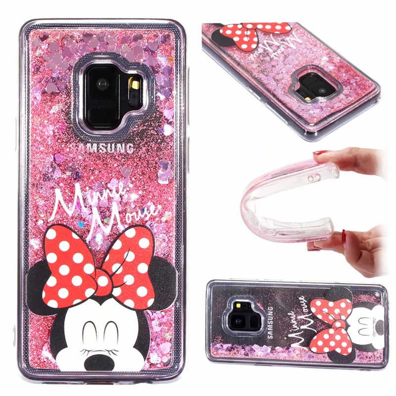 Жидкий чехол для iPhone X 10 8 7 6 6s Plus iPhone XS 7 Plus 8 Plus мультяшный Микки Маус Минни Мягкий силиконовый чехол