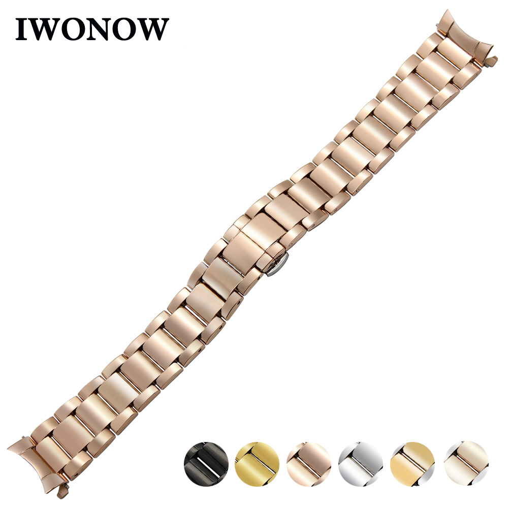 Stainless Steel Watch Band 18mm 20mm 22mm for Fossil Curved End Strap Butterfly Buckle Belt Wrist Bracelet Black Gold Silver curved end stainless steel watch band for breitling avenger superocean men women wrist strap bracelet silver gold 18mm 20mm 22mm