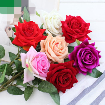 8 Fake Single Stem Red Rose Artificial Velvet Roses Flower with Green Leaf  for Wedding Home Party Showcase Decorative Flowers  rose