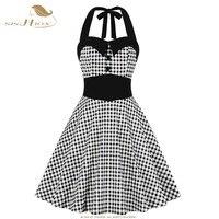 SISHION Retro Black Plaid Dress Women Summer Button Tunic 50s 60s sexy Vintage Party Big Swing Pin Up Dresses SP0229