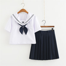 bb4c8d070173 Japan Girls Short Sleeve Jk Sailor Suit Cosplay School Uniforms Preppy  Style College Skirt Female Costume