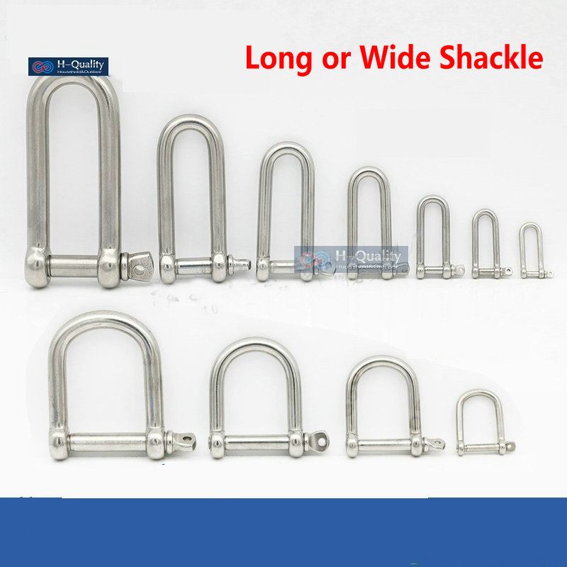 HQ AC1 AISI304 Long Straight D Shackle Or AISI316 Extra Wide Shackle Stainless Steel  Anchor Shackle Chain Wire Rope Connector