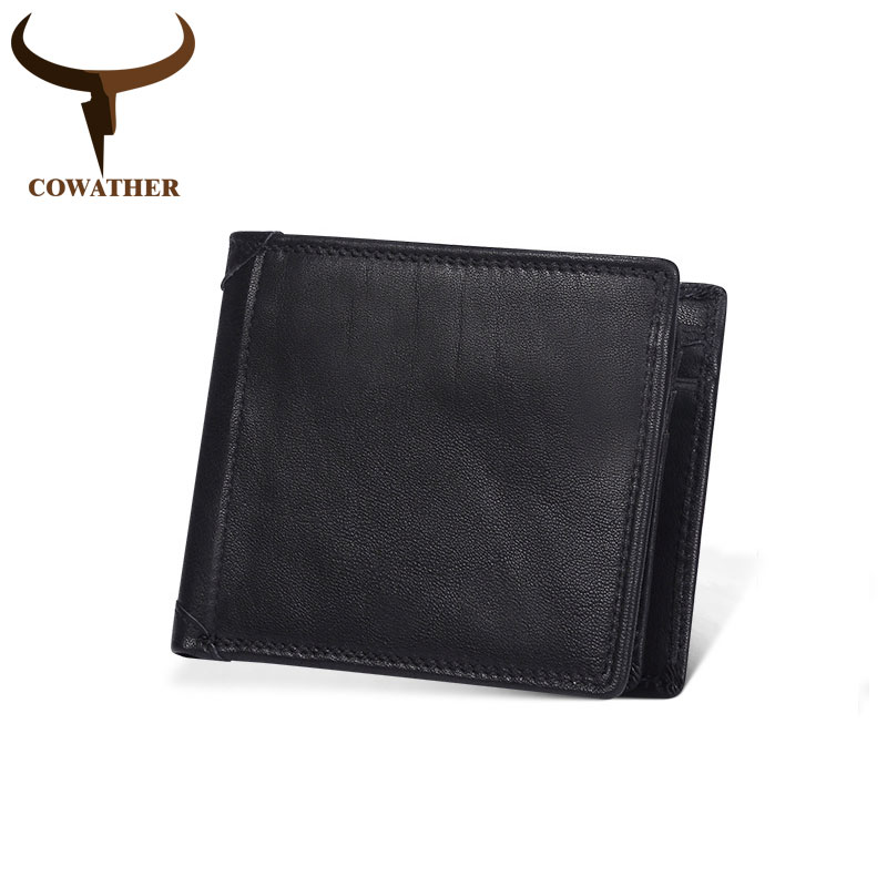 COWATHER qualité supérieure portefeuille en cuir 100% couche supérieure en cuir de vache hommes portefeuille nouveauté style court mâle bourse Q521 livraison gratuite