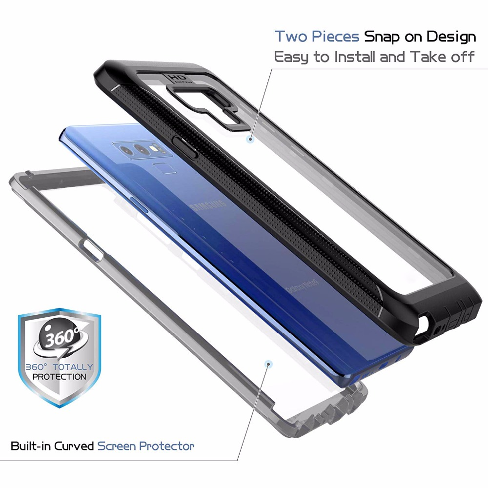 For Galaxy Note9 case Built in Screen Protector Cover 360 Degree Duty Shock Dirt Snow Proof With Touch ID for Note9 Case Cover in Fitted Cases from Cellphones Telecommunications