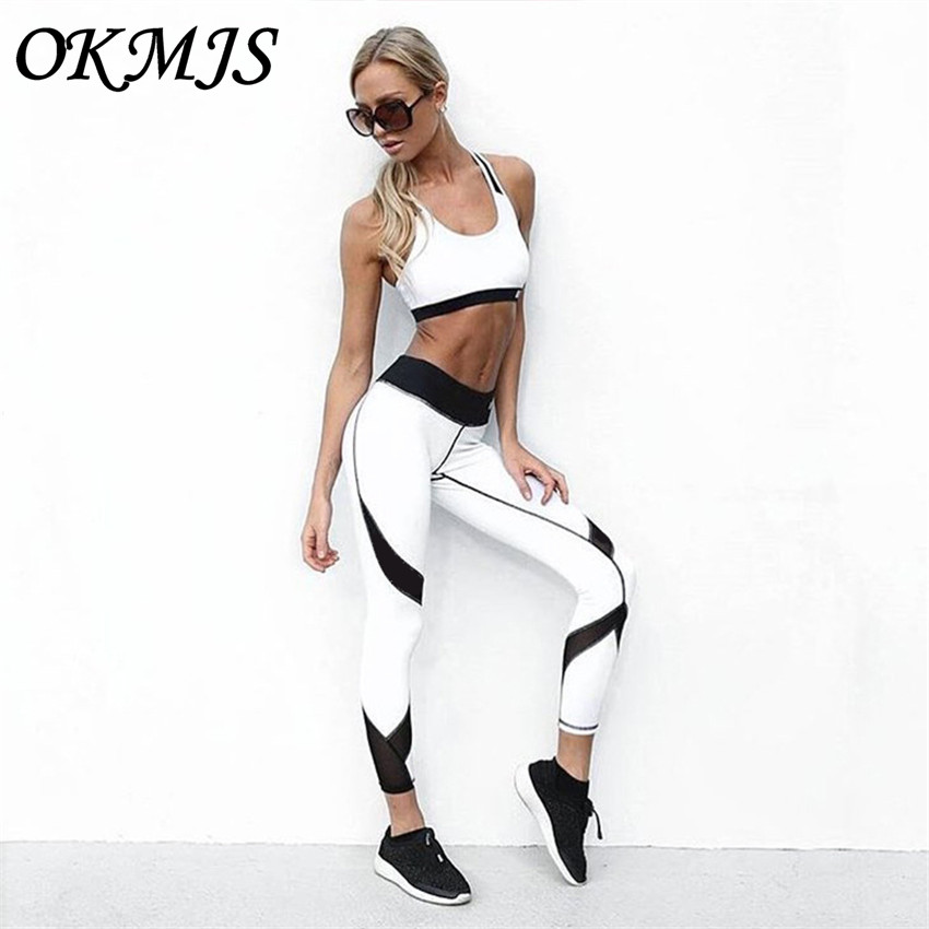 Фитнес леггинсы Для женщин тренировки одежда для Для женщин Activewear Цвет блок широкий пояс кроить и шить леггинсы Для женщин s сексуальная оде...