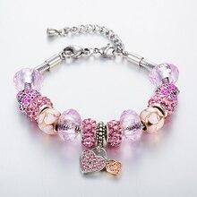 New Summer Heart Charm Bracelets For Women Stainless Steel Chain Bracelets & Bangles
