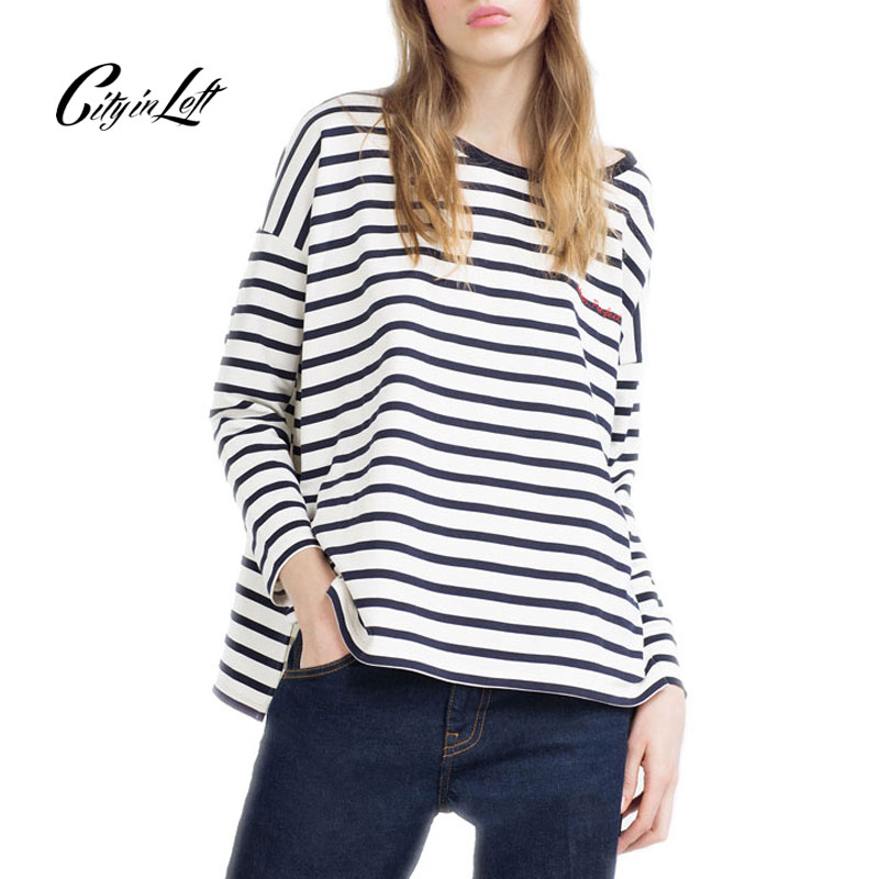 Buy 2016 women fashion black white for Black and white striped long sleeve shirt women