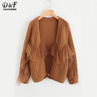 Dotfashion V Neckline Ruffle Mesh Embellishing Open Front Cardigan 2017 Brown Autumn Long Sleeve Top Loose Sweater