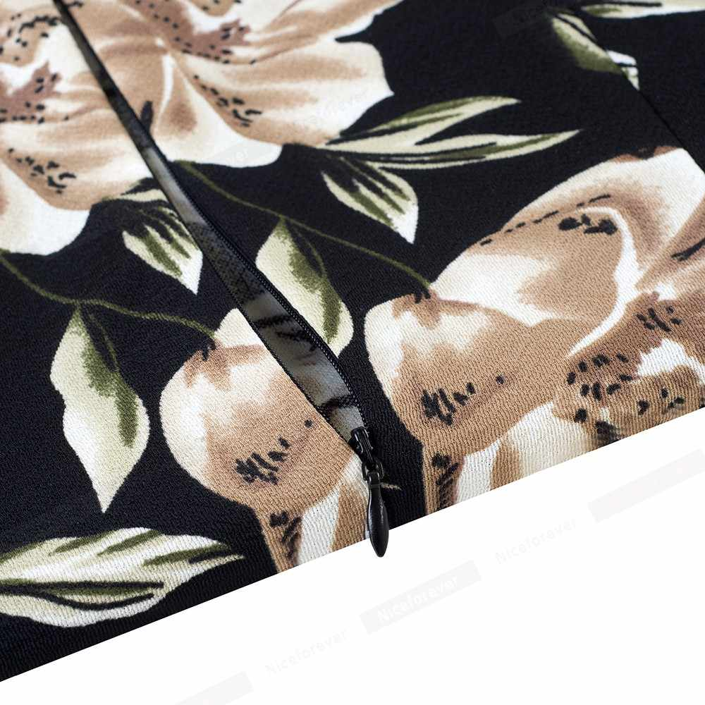Nice-Altijd Elegante Vintage Bloemenprint Casual Werk Vestidos Business Office Bodycon Schede Vrouwen Jurk B513