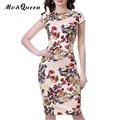 Цветочные Старинные Dress Женщины Новый Участок От Белого Лето Dress Открыть Щелевая Элегантный Колена Bodycon Dress Коротким Рукавом Спинки