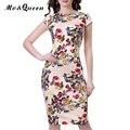 Floral vintage dress mujeres nuevo tramo off white summer dress abierto de hendidura elegante longitud de la rodilla bodycon dress de manga corta sin respaldo