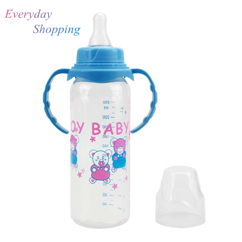 250ml Newborn Baby Bottle Kids Cup Silicone Sippy Children Training Cups Baby Drinking Water Straw Handle Feeding Bottle