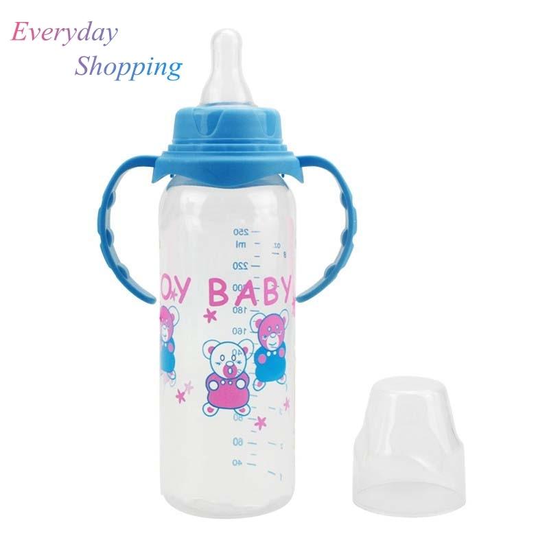250ml Newborn Baby Bottle Kids Cup Silicone Sippy Children Training Cups Baby Drinking Water Straw Handle Feeding Bottle