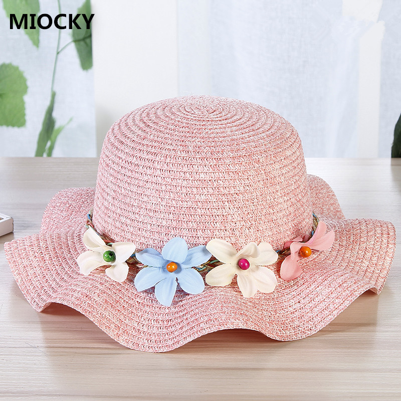 2108 New Summer Sun Hat Toddler Girls Kids Beach Hats Children Flower Straw Hat  Caps Baby 14c77749d34