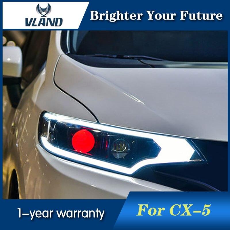 2Pcs For Honda Fit Headlights 2014-2017 Head Lamp Led DRL front Bi-Xenon Lens Double Beam HID KIT hireno headlamp for 2016 hyundai elantra headlight assembly led drl angel lens double beam hid xenon 2pcs