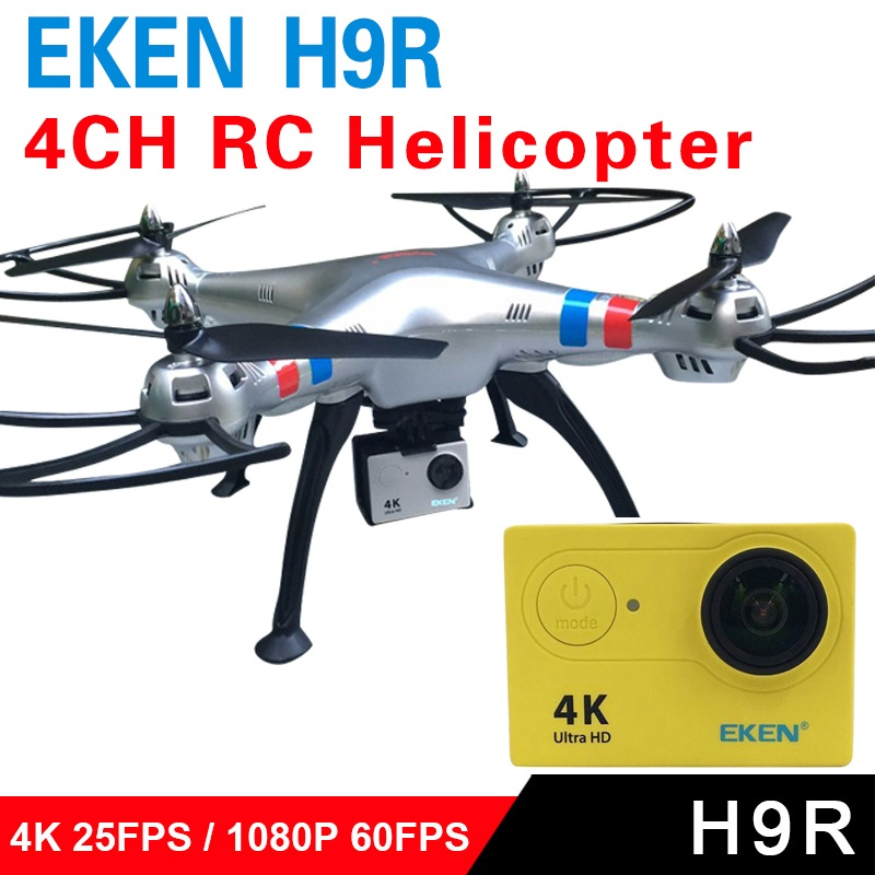 Action camera deportiva Original EKEN H9 / H9R remote Ultra 4K 1080P 60fps with 4CH RC Quadcopter Helicopter Professional Dron original eken ultra hd 4k video sports cam 2 inch 170d 1080p 60fps deportiva action camera h9r with camera accessories to choose