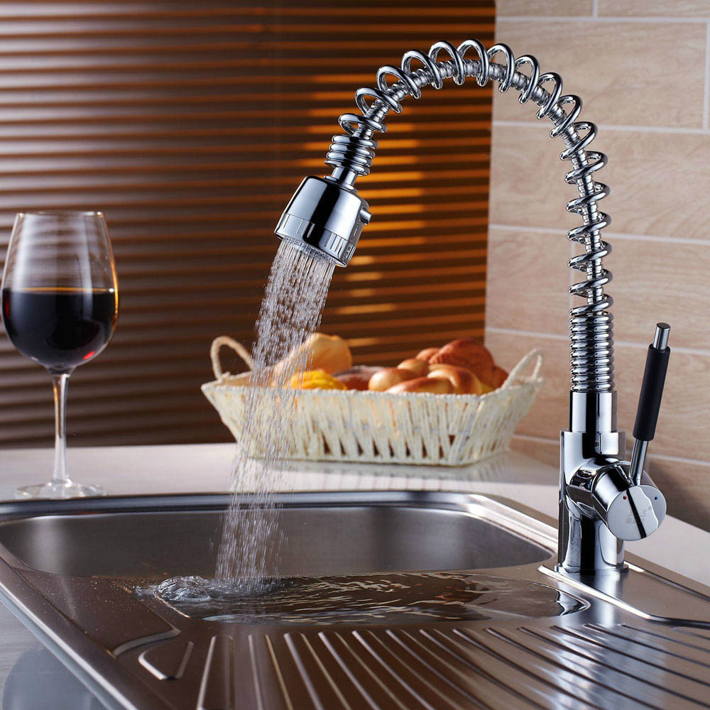 Free shipping new brass Kitchen faucet sink mixer tap pull down faucet kitchen taps hot and cold water tap CH-8011 kitchen chrome plated brass faucet single handle pull out pull down sink mixer hot and cold tap modern design