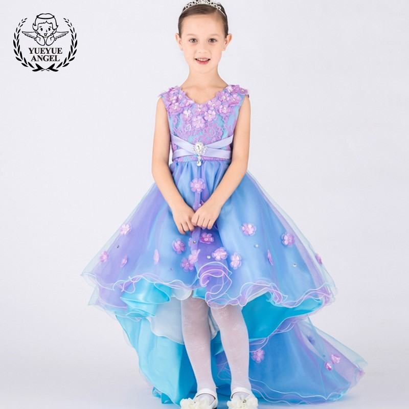 цена на Hot Blue Wedding Dress Kids Luxury Tulle Birthday Girls Dresses Sarafan Maxi Summer Floral Princess Dress For Girl 12 Years old