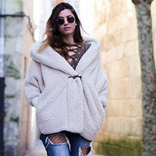 Double-Layer Thick Faux Fur Coat Warm Autumn Winter Cashmere Jacket Beige Color Hooded Loose Teddy Coats Manteau Femme цены онлайн