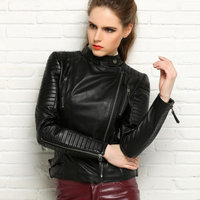 2018 New Autumen Winter Women 100% Real Leather Jackets Lady Genuine Cool Motorcycle Red Black Coat Outerwear Hot Sale
