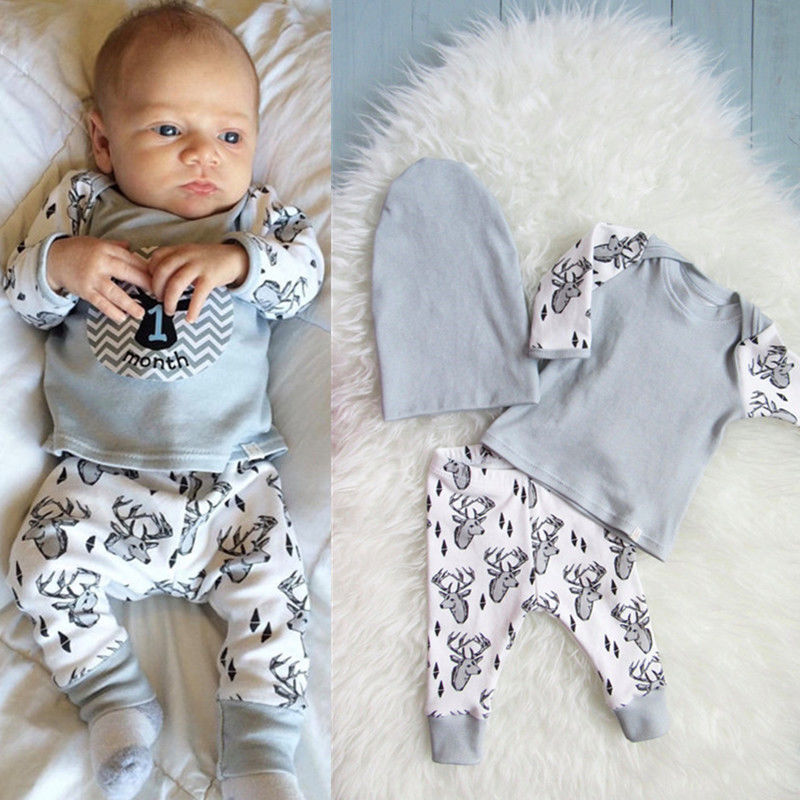 Christmas Infant Baby Boy Outfits Clothes Romper Pants ...