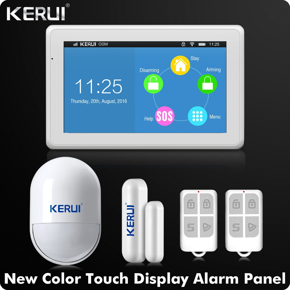 Kerui Date arrivée WIFI GSM Système D'alarme 7 pouce TFT Couleur D'affichage KR-K7 Porte Ouverte Rappel