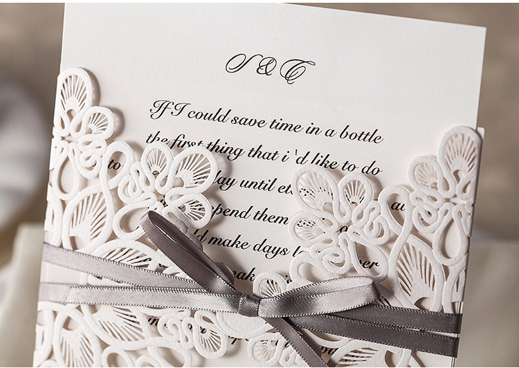 aliexpresscom buy 20pcs floral design pure love wedding invitations with bow in white elegant wedding cards from reliable wedding invitations pink and - Fancy Wedding Invitations