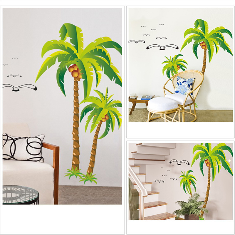 Coconut Palm Tree Seagulls Wall Sticker Beach Art Mural DIY Wall Decal  Living Room Home Wedding Part 70