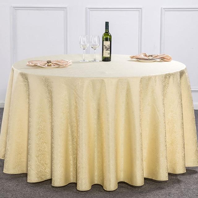 10 Pièces Beige Dobbt Floral Polyester Nappe Ronde Pour