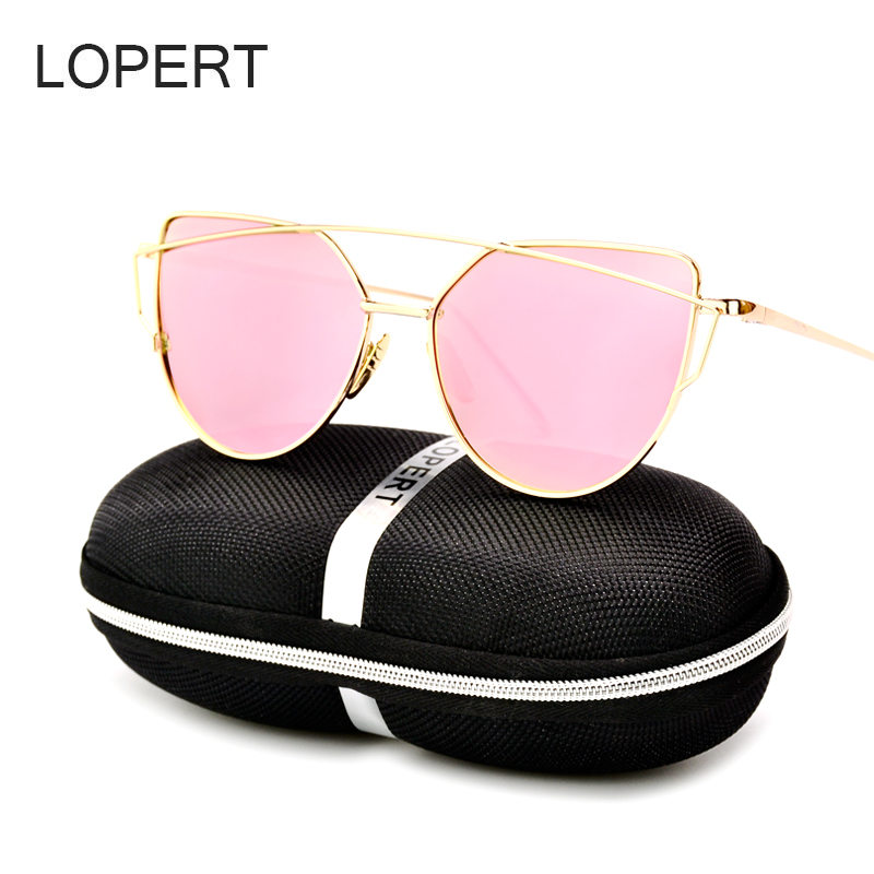 LOPERT Women Cat Eye Polarized Sunglasses Classic Brand Designer Twin Beams Rose Gold Frame Mirror Sun