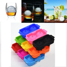New silicone 2 sphere ice balls tray maker mold ice cube balls freeze molds whiskey cocktails ice ball bar drink party ice tray