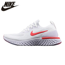 Nike Epic React Flyknit Men s Running Shoes White Red Breathable  Wear-resistant 1a04b6a89