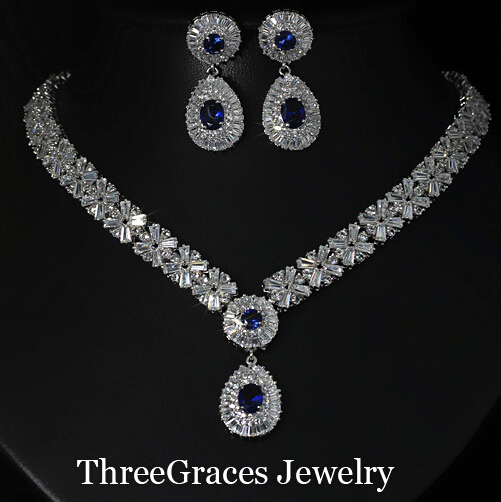 Gorgeous Silver Plated CZ Imitated Diamond Large Royal Blue Water Drop Necklace Earrings African Jewelry Sets For Brides JS029
