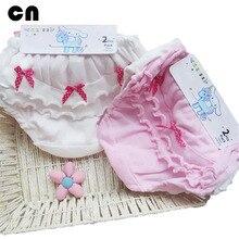 2 шт./лот, одежда для малышей хлопковое розовое и белое нижнее белье для девочек с изображением деревянных бантик-ушки шорты для новорожденных девочек от 0 до 2 лет, нижнее белье