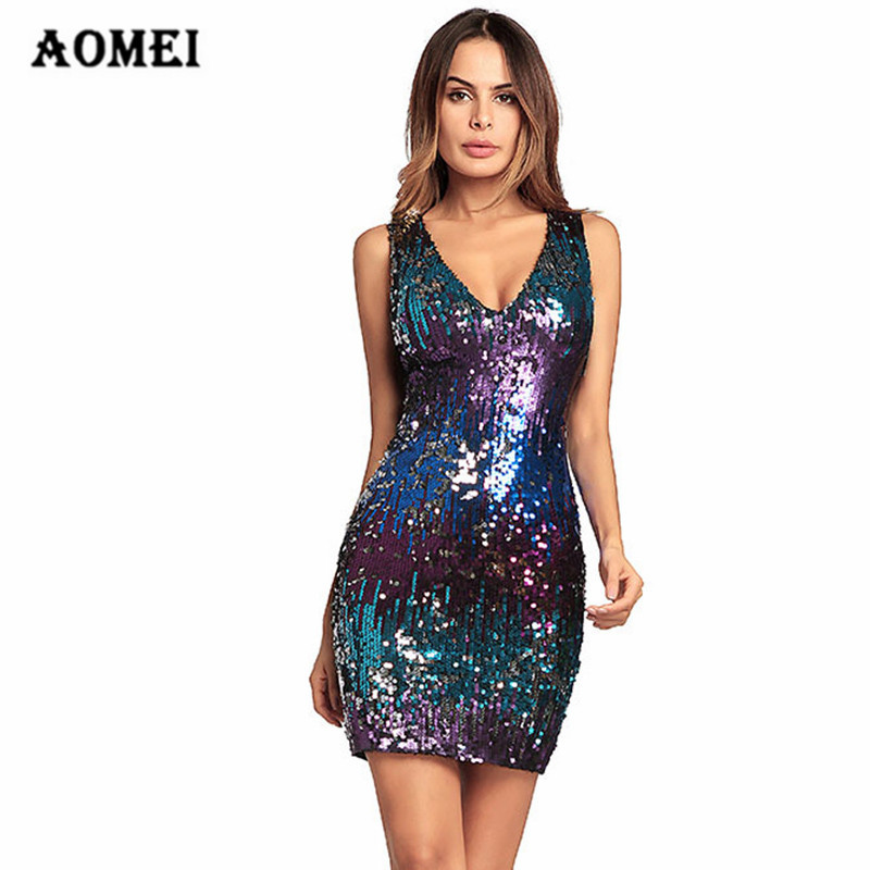 Colorful Sequin Party Club Paillette Mini Dress Sexy Deep V Neck Clubwear  Fashion Bodycon Evening Robes 32d97f4ffcee