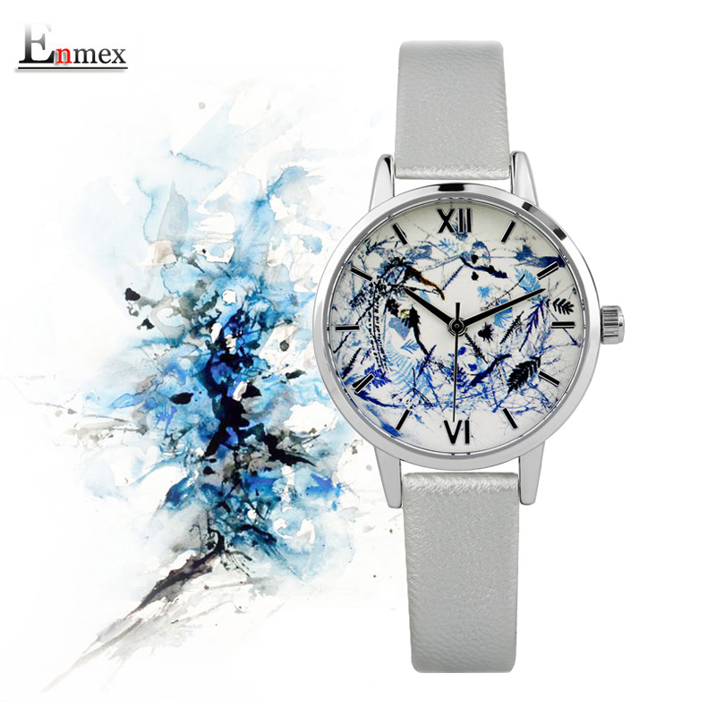 2017 lady gift Enmex  abstract patterns Elegant temperam with simple clean design for young women fashion quartz watches 2017lady gift enmex design silicone strap creative changing patterns dail japanese style simple quietly elegant quartz watches