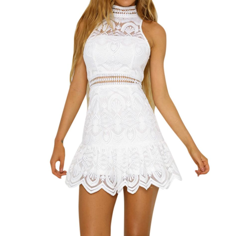 Women Sexy Bodycon Dress Summer Hallow Out Short Mini Dress Keyhole Back Stand Neck White Lace Dress #L