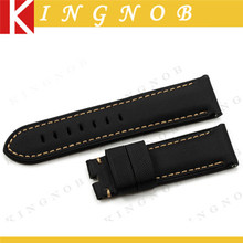 Handmade Black Kevlar and Leather Watch Strap 24mm Nylon Watch Strap Fabric Grain Watchband White Stitch Pin Buckle Style