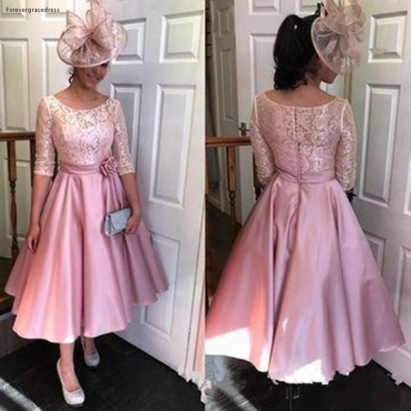 2019 Elegant Arabic African   Cocktail     Dress   Pink Tea Length Formal Club Wear Evening Prom Party Gown Plus Size Custom Made