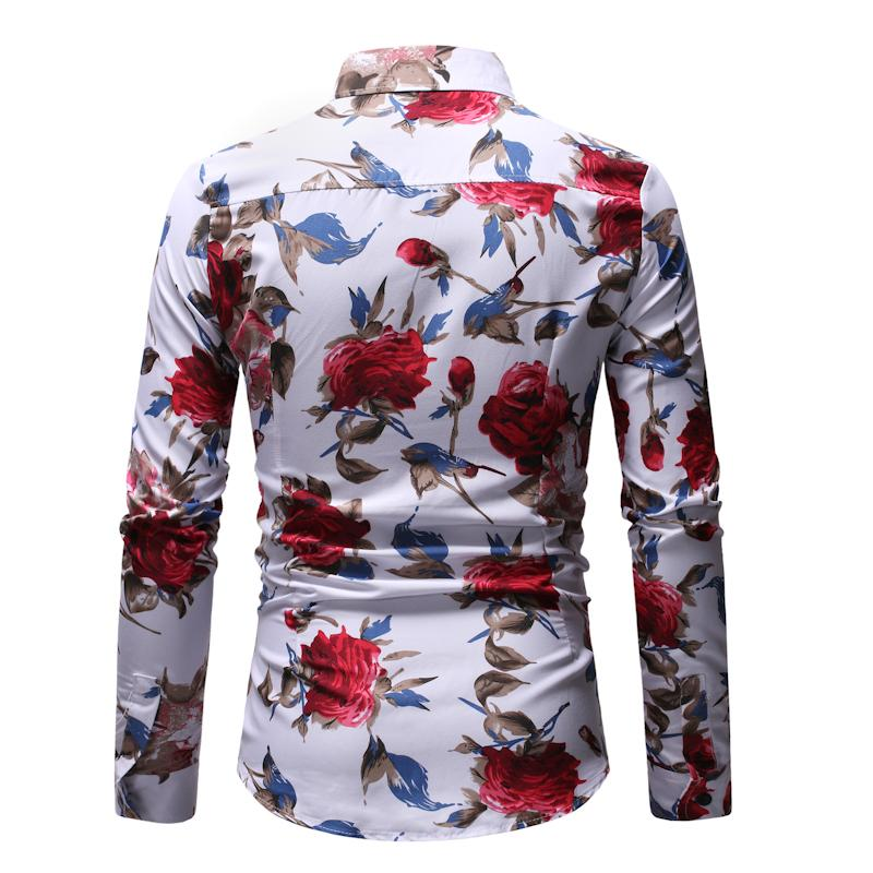 Floral Blouse Men Dress Shirt Men Brand clothing Long Sleeve Flower Shirt Male Black White in Casual Shirts from Men 39 s Clothing