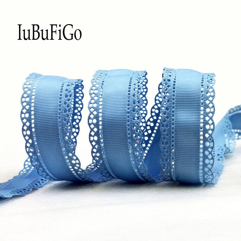 [Iubufigo] 10 двор 1-1/8 «30 мм полые цветок Grosgrain ленты с кружевными лентами hairbow DIY аксессуары ручной работы N19