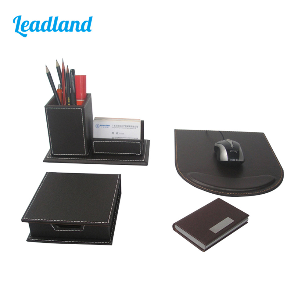 Kingfom 4pcs Modern Upscale PU Leather Office Supplies Sets Stationery Storage Box Card Holder Pen holder Desk Sets Brown T49K
