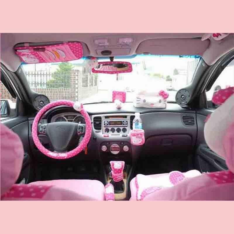 Hallo Kitty Auto Zubehör Niedlichen Cartoon KT Auto Lenkradabdeckung Sonnenblende CD Aufbewahrungstasche Gurtabdeckung Shifter Handbremse