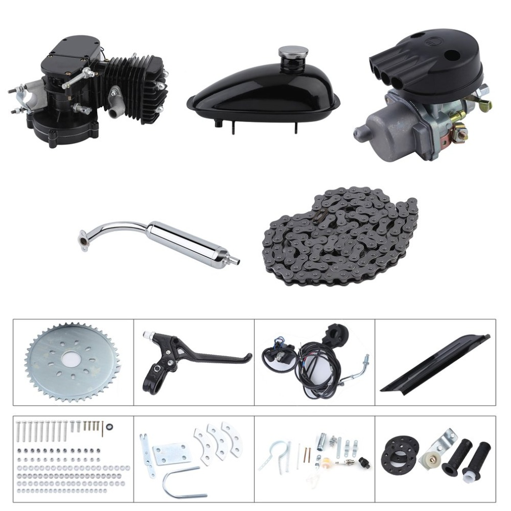 (Shipping From DE )80CC 2-Stroke Motor Muffler Motorized Bicycle Bike Engine Gas Kit Motor Start Starter Pockets Mini BikeSilver boat motor t40 05090200 cdi unit for parsun hdx 2 stroke 40cv t40 t40bm t40bw t40g t30bm engine 2 stroke c d i assy g type
