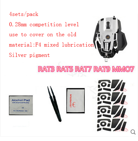 4sets/pack original hotline games 0.28mm competition level mouse feet for Saitek RAT3 RAT5 RAT7 RAT9 MMO7 gaming mouseskate