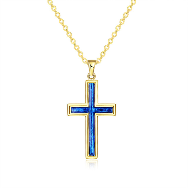 Cross Necklaces Pendants Christian Jewelry Oil Painting Gold Color