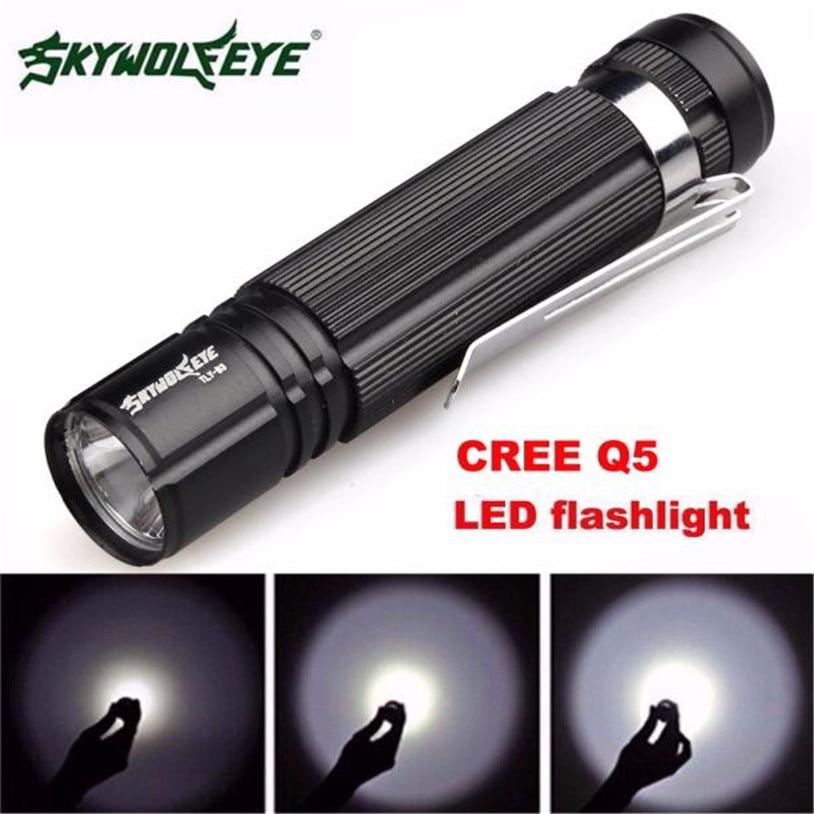 skywolfeye 7W CREE Q5 LED 1200lm Mini Flashlight Torch Light 14500/AA Lamp Waterproof L61219 lanterna drop ship