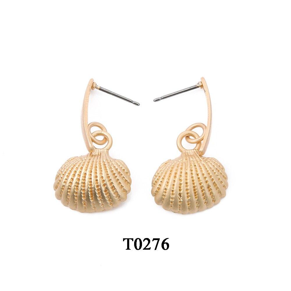 T0276A,亚金色贝壳吊坠耳环,大约16.5X31mm